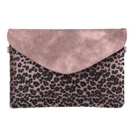 Schoudertas met leopardprint in het roze