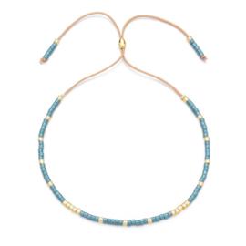 Verstelbaar armbandje mini beads blauw-goud
