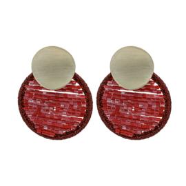 Oorbellen Cirkle Beads Rood