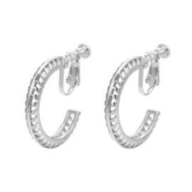 Zilveren Clip Oorbellen Retro Ring