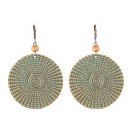 Oorbellen Boho Big Rounds Green