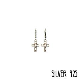 Earrings Double Cross  Zilver