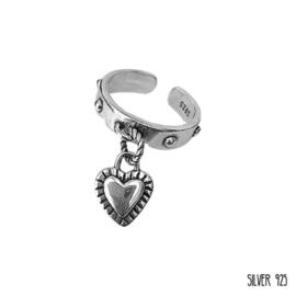 Zilveren Ring Bedel Hartje
