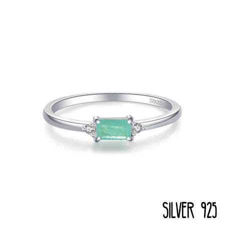 Zilveren Ring Groen Steentje