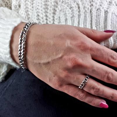Zilveren Ring Schakels Grof
