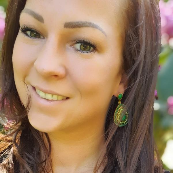 Statement Earrings Bohemian Stones Groen