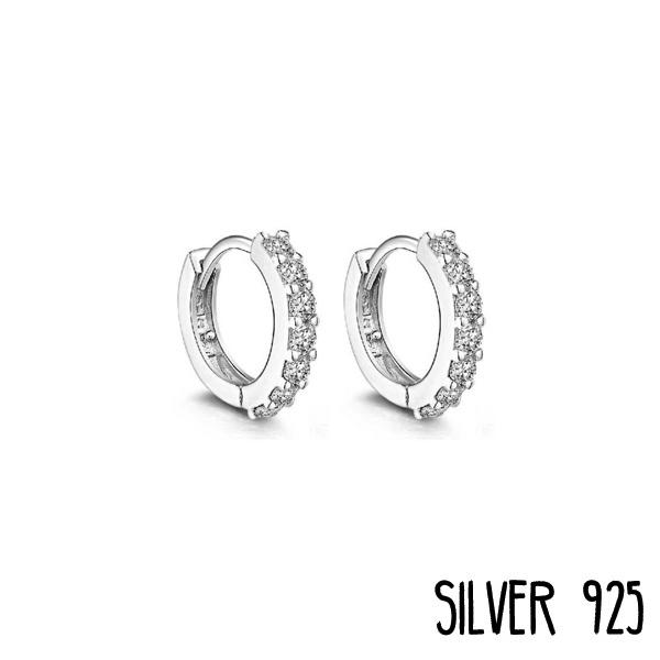 Zilveren Oorringetjes met steentjes