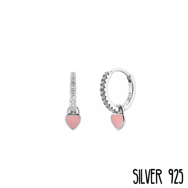 Zilveren Oorringen Hartje Roze