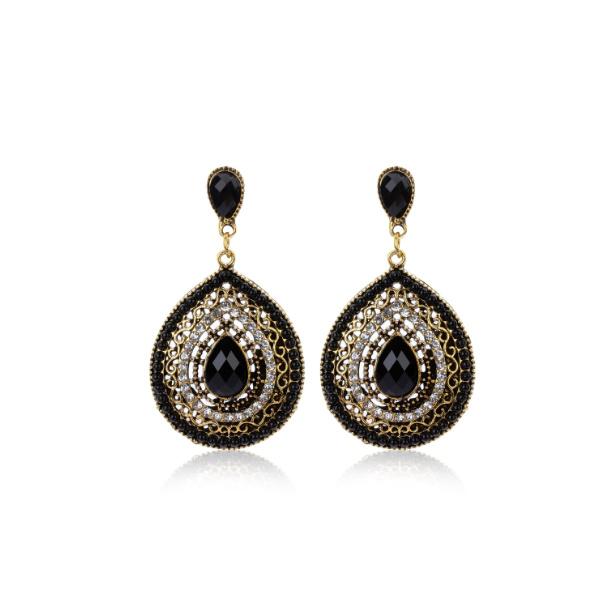 Statement Earrings Bohemian Stones Zwart