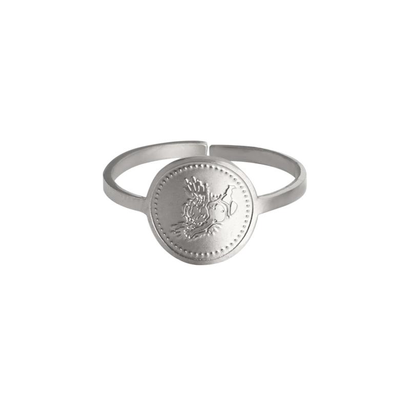 Verstelbare Zilveren Ring Flying Angel