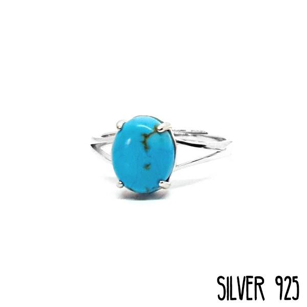 Ring Gemstone Marble Blauw