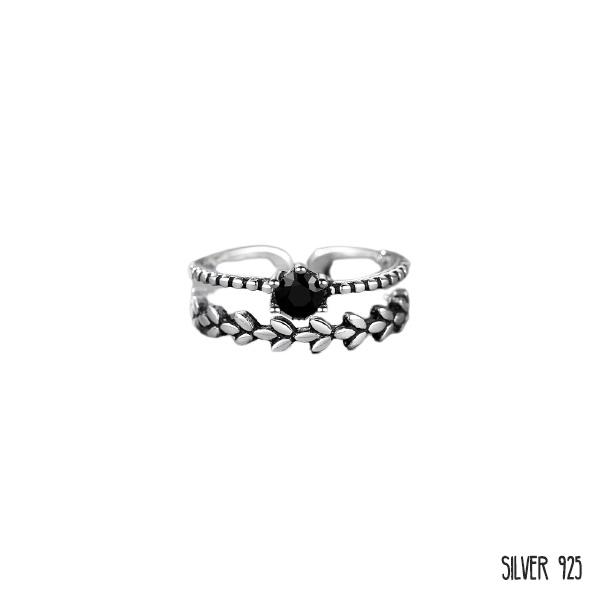 Zilveren Ring Dubbel Zwarte Steen