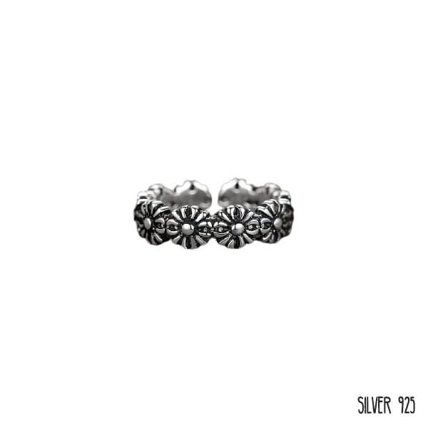 Zilveren Ring Bloemen