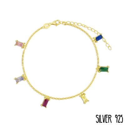 Gouden Armband Gekleurde Steentjes