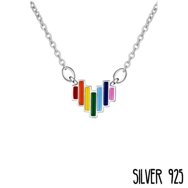 Zilveren Ketting Hart Regenboog