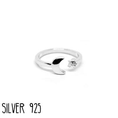 Ring Maan en  Ster Zilver 925