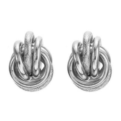 Zilveren Clip Oorbellen Double Knot