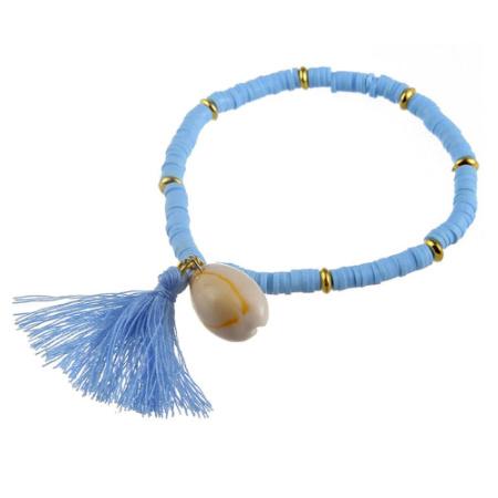 Armband met schelp en blauwe kralen