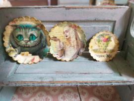 Alice in Wonderland borden, 3 stuks,  (drink me!)