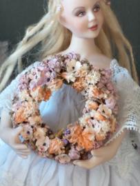 Blumenkranz Ø 3,5 cm., Pastell, Aprikose und rosa getrocknete Blumen