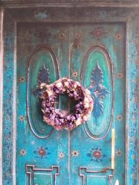 Blumenkranz Ø 3 cm., Pastell, Lila-Grün getrocknete Blumen