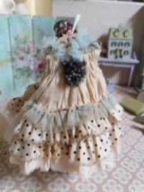 Romantisch Polkadot jurkje, met licht blauwe tule, maat L/XL