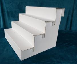 4 traps kartonnen display trap, kleur wit