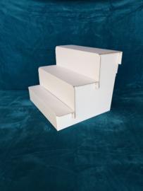 3 traps kartonnen display trap, kleur wit