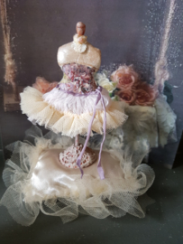 Mannequin with tutu, height 12 cm., Shabby Chic look