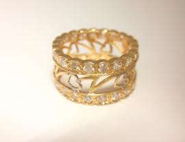 Uitgelezene 21 K Brede Gouden Ring met Zirkonia | Ringen | Den Gulden Hoeck AR-98