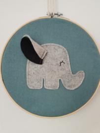 Borduurring olifant blauw