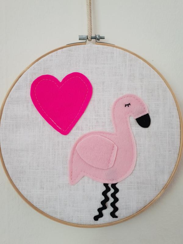 Borduurring flamingo