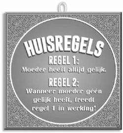 Paperdreams Slogan tegel - huisregels