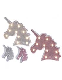 Plastic Eenhoorn ( Unicorn) lamp ( ROZE) GLITTER