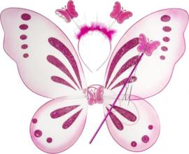 Vlindervleugels Met Staf En Tiara Roze 48 X 41 Cm