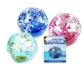 Opblaasbare strandbal met holografische glitter, D: ca. 50 cm (Licht blauw/gouden glitters)