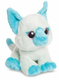 Aurora pluchen knuffel kat 18 cm wit/blauw
