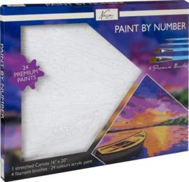 Schilderen op nummer volwassenen | Boot en landschap | Canvas 40 x 50