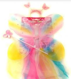 Vleugels rokje, diadeem, regenboog  54 cm