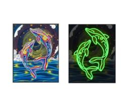 Diamond painting 'Glow in the Dark' 25x35  dolfijnen