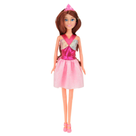Tienerpop Lauren (Roze jurk, donker haar)