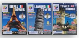 3 stuks 3D puzzels Pisa/Parijs/Londen