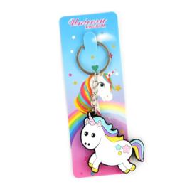 Unicorn rainbow sleutelhanger plat