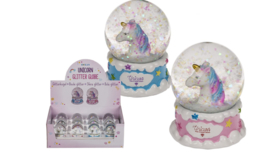 Mini Unicorn Sneeuwbal in roze of blauw