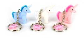 Eenhoorn sleutelhanger blauw/wit/roze