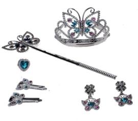 Verkleedset Prinses Zilver/lichtblauw 5-delig