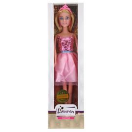 Tienerpop Lauren (Roze korte jurk glitters)