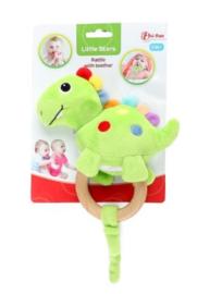 LITTLE STARS Baby rammleaar met houten bijtring 'Dino' +