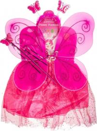 Elfen-set Met Tiara En Toverstaf One Size Fuchsia Glitter