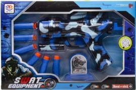 Swat schietspeelgoed met 6 pijltjesin doos blauw